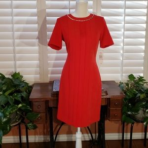 Ravishing red, Sharagano, short sleeve dress.